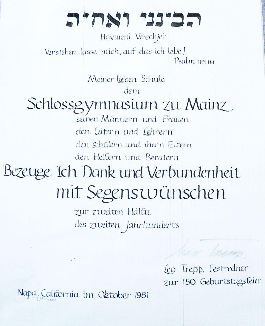Danksagung von Leo Trepp an das Schlossgymnasium